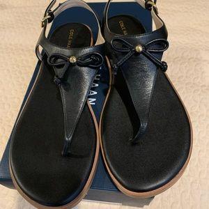 Cole Hann black leather bow sandal